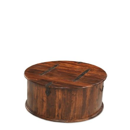 Jali Sheesham Wood Round Coffee Trunk